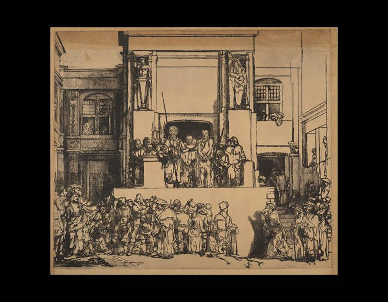 Christ Presented to the People, 1655. Rembrandt van Rijn (Dutch, 1606–1669). Drypoint on Japanese paper; 38.4 x 45 cm. The Morgan Library & Museum, Acquired by J. Pierpont Morgan, 1905. Photo: Graham S. Haber, 2011