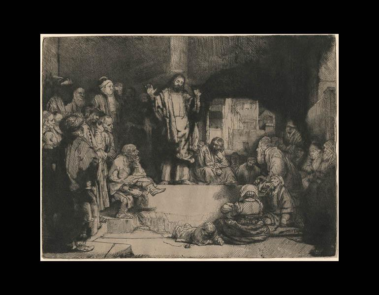 Christ Preaching (La Petite Tombe), about 1652. Rembrandt van Rijn (Dutch, 1606–1669). Etching, engraving, and drypoint on Japanese paper; 15.6 x 20.7 cm. The Morgan Library & Museum, Acquired by J. Pierpont Morgan, 1905. Photo: Graham S. Haber, 2011
