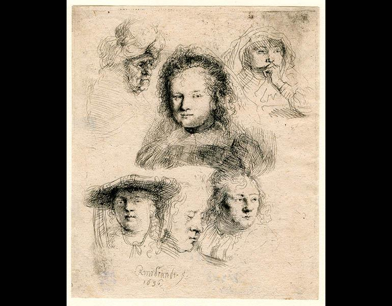 Studies of the Head of Saskia and Others, 1636. Rembrandt van Rijn (Dutch, 1606–1669). Etching; 14.9 x 12.7 cm. The Morgan Library & Museum, Acquired by J. Pierpont Morgan, 1900. Photo: Graham S. Haber, 2011