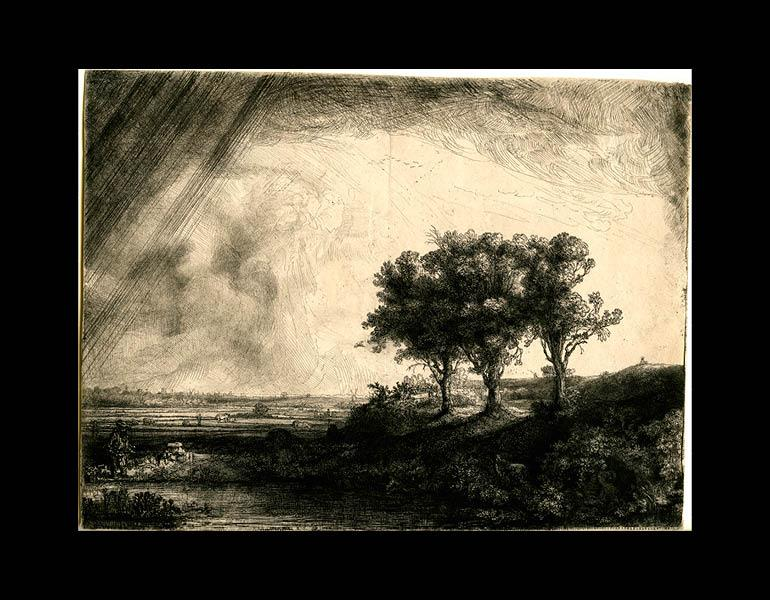 The Three Trees, 1643. Rembrandt van Rijn (Dutch, 1606–1669). Etching, drypoint, and engraving; 21.2 x 28.1 cm. The Morgan Library & Museum, Acquired by J. Pierpont Morgan, 1900. Photo: Graham S. Haber, 2011