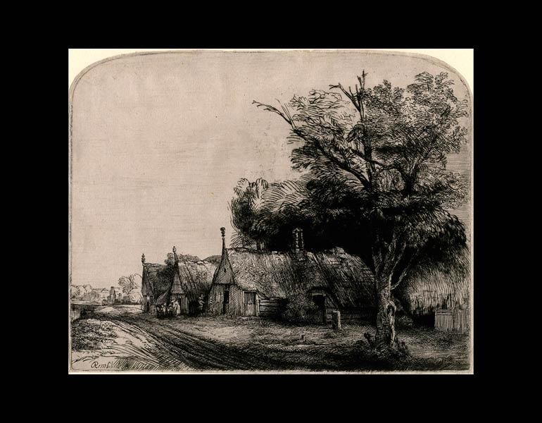 Landscape with Three Gabled Cottages Beside a Road, 1650. Rembrandt van Rijn (Dutch, 1606–1669). Etching and drypoint; 16.1 x 20.3 cm. The Morgan Library & Museum, Acquired by J. Pierpont Morgan, 1900. Photo: Graham S. Haber, 2011