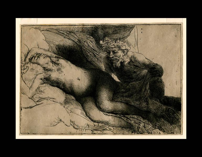 Jupiter and Antiope: The Larger Plate, 1659. Rembrandt van Rijn (Dutch, 1606–1669). Etching, engraving, and drypoint; 13.8 x 20.4 cm. The Morgan Library & Museum, Acquired by J. Pierpont Morgan, 1905. Photo: Graham S. Haber, 2011
