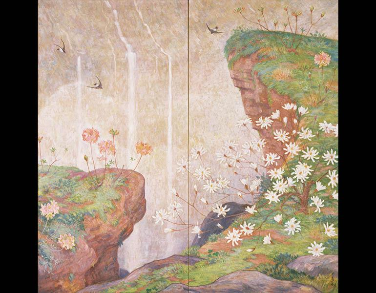 Late Spring, 1915 (Taishō 4). Nagahara Kōtarō (1864–1930). Two-fold screen, oil on canvas; 168.2 x 173.3 cm. Tokyo National Museum, A-1116