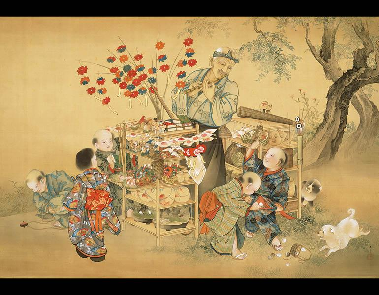 Toy Vendor, 1893 (Meiji 26). Kawabata Gyokushō (1842–1913). Hanging scroll, color on silk; 97.2 x 142.1 cm.  Tokyo National Museum, A-154