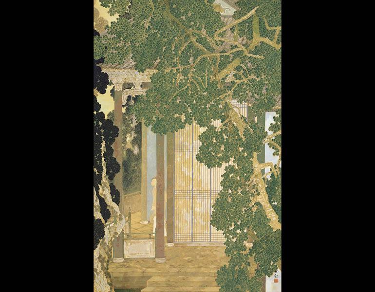 Listening to the Wind, 1914 (Taishō 3). Ōchi Shōkan (1882–1958). Hanging scroll, color on silk; 159.3 x 102.7 cm. Tokyo National Museum, A-10562