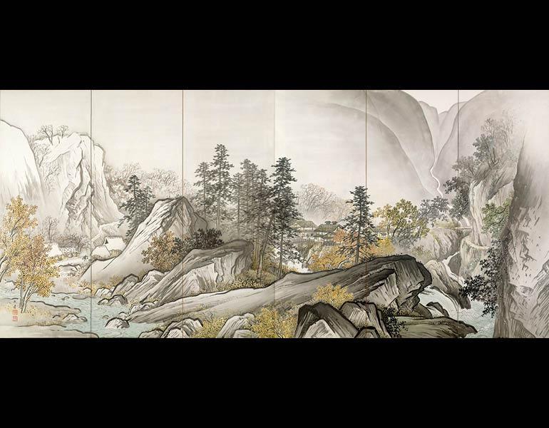 Pine, Bamboo, and Plum, 1938 (Shōwa 13). Yokoyama Taikan (1868–1958). Pair of six-fold screens, color on paper; 168.7 x 373.8 cm (each screen). Tokyo National Museum, A-11783
