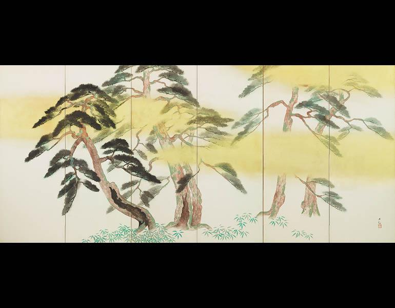 Pine, Bamboo, and Plum, 1938 (Shōwa 13). Yokoyama Taikan (1868–1958). Pair of six-fold screens, color on paper; 168.7 x 373.8 cm (each screen). Tokyo National Museum, A-11783