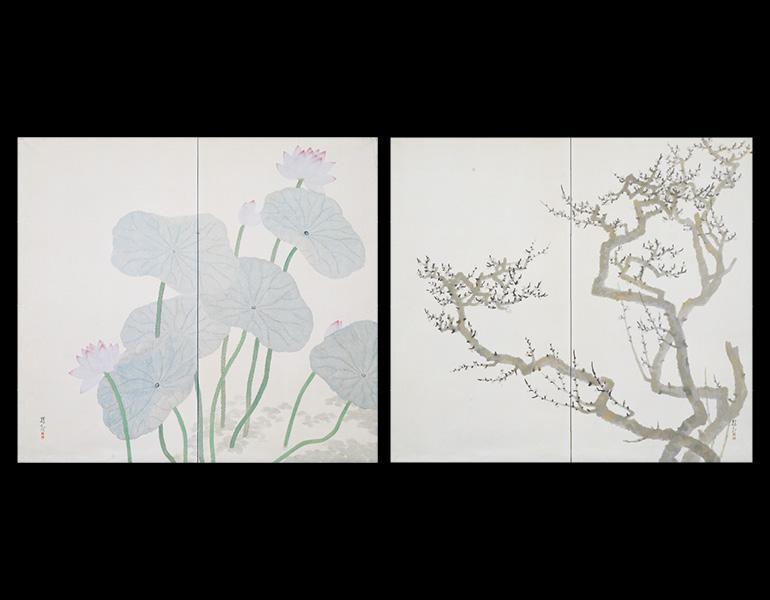 Plum and Lotus, 1920 (Taishō 9). Ōchi Shōkan (1882–1958). Pair of two-fold screens, color on paper; 168.5 x 186.3 cm. Tokyo National Museum, A-12113