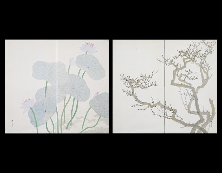 Plum and Lotus, 1920 (Taishō 9). Ōchi Shōkan (1882–1958). Pair of two-fold screens, color on paper; 168.5 x 186.3 cm. Tokyo National Museum, A-12113