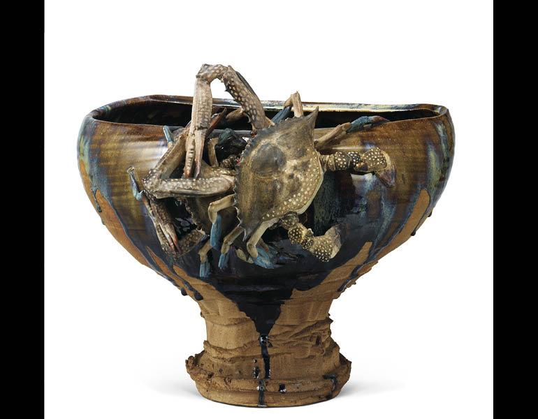 Footed Bowl with Applied Crabs and Brown Glaze, 1881 (Meiji 14). Miyagawa Ko ̄zan I (1842–1916). Ceramic; H. 37 cm, diam. 19.6 cm (mouth) and 17.1 cm (bottom). Tokyo National Museum, G-105. Important Cultural Property
