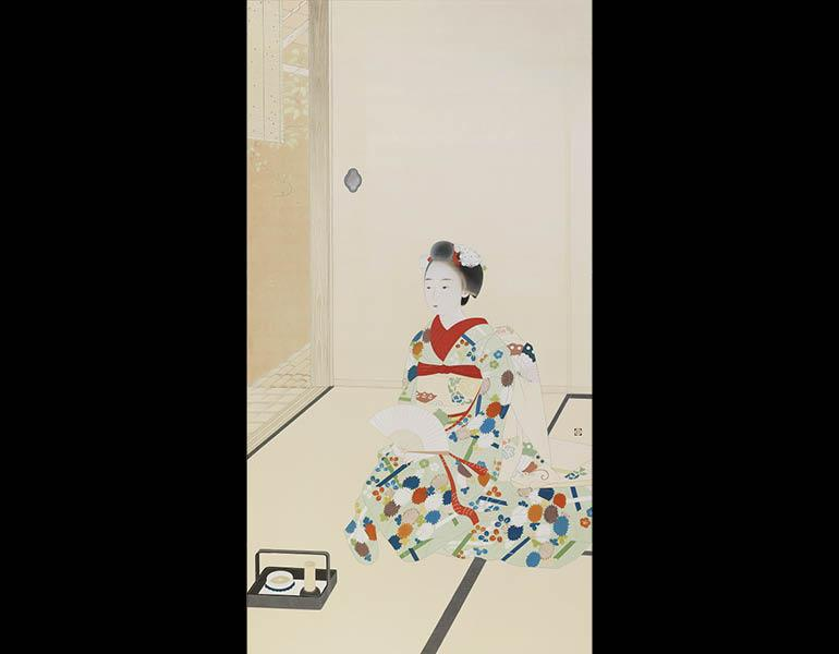 Maiko Girl, 1930. Tsuchida Bakuse (Japanese, 1887–1936). Panel painting, color on paper; 184 × 97 cm. Tokyo National Museum (A-12289 )