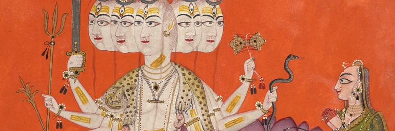 Sadashiva (detail), c. 1670. Attributed to Devidasa. Northern India, Himachal Pradesh, Nurpur. Opaque watercolor and applied beetle wing on paper; 19.1 x 18.4 cm. Catherine and Ralph Benkaim Collection