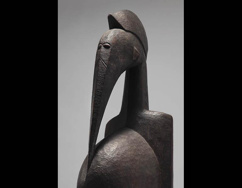 Bird Figure (detail). Unidentified artist. Wood; h. 138 cm. Private collection. Photo © Jon Lam.