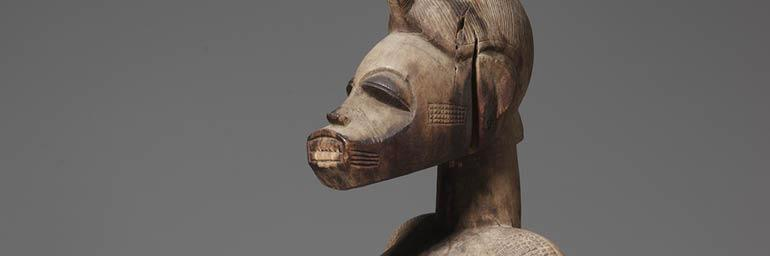 Mother-and-Child Figure (detail), 1800s-1900s. Africa, Guinea Coast, Ivory Coast, Senufo people. Wood; h: 63.6 cm. James Albert and Mary Gardiner Ford Memorial Fund 1961.198