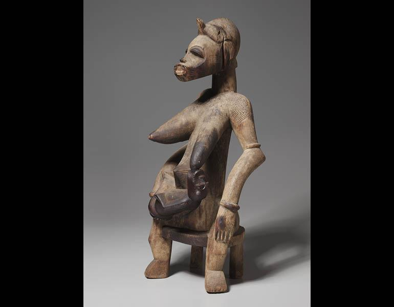 Mother-and-Child Figure, 1800s-1900s. Africa, Guinea Coast, Ivory Coast, Senufo people. Wood; h: 63.6 cm. James Albert and Mary Gardiner Ford Memorial Fund 1961.198