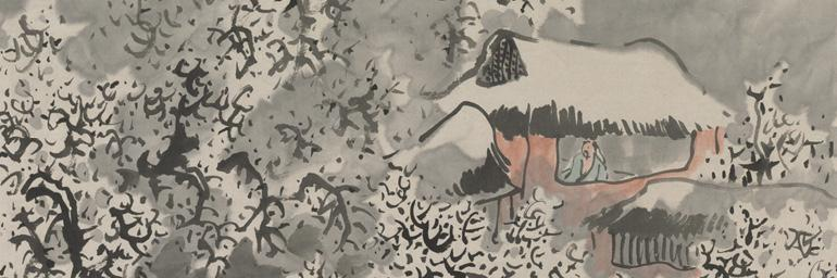 Snow Landscape (detail), c. 1770s. Yosa Buson (Japanese, 1716-1783). Hanging scroll; ink and color on paper; 174.6 x 67.4 cm. Bequest of Mrs. A. Dean Perry 1997.111