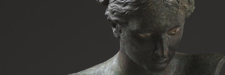 Apollo the Python-Slayer (detail), formerly Apollo Sauroktonos (Lizard-Slayer), c. 350 BC. Attributed to Praxiteles (Greek, c. 400 BC–330 BC). Bronze, copper, and stone inlay; 150 x 50.3 x 66.8 cm. The Cleveland Museum of Art, Severance and Greta Millikin Purchase Fund 2004.30.a