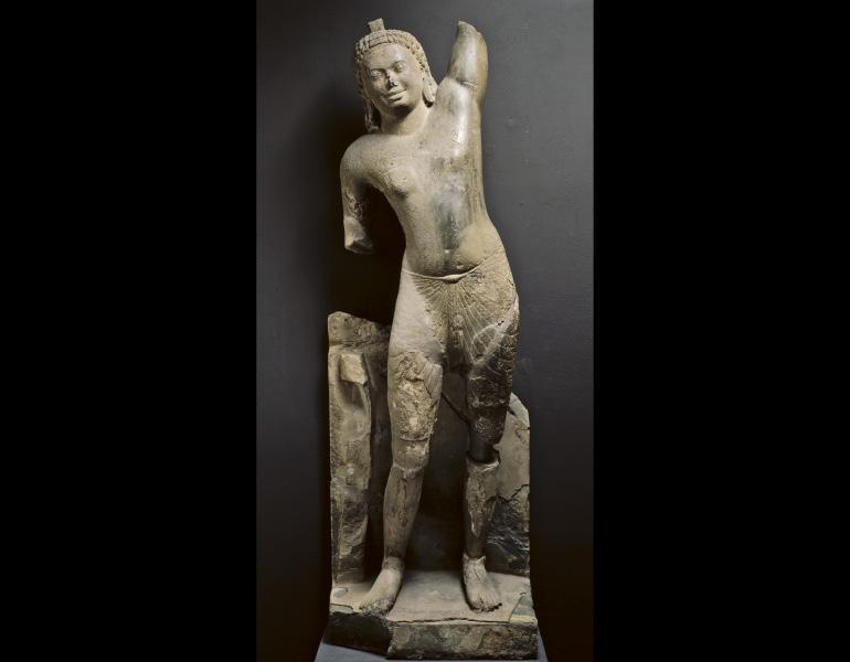 Krishna Govardhana, 500s–600s. Cambodia, Pre-Angkorean period, Phnom Da style. Limestone. John L. Severance Fund 1973.106