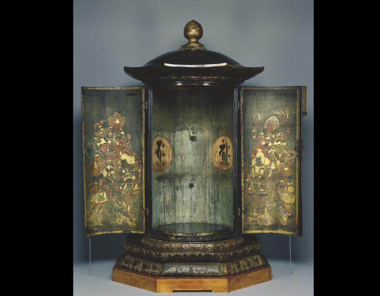 Buddhist Tabernacle, late 1100s. Japan, Heian period (794–1185). Black lacquer over a wood core with hemp cloth covering, gold paint, cut gold leaf, ink, mineral pigments, and metalwork. John L. Severance Fund 1969.130