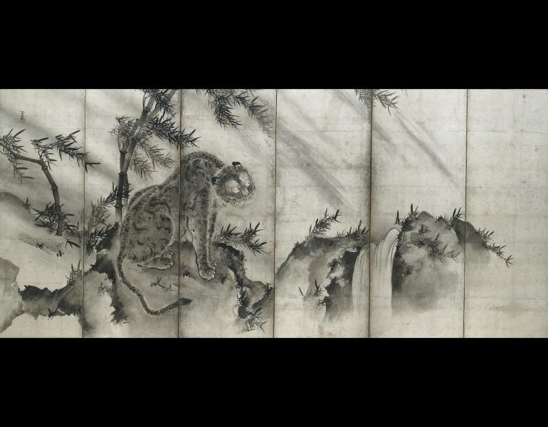 Tiger, 1500s. Shukei Sesson (Japanese, 1504–1589). Six-fold screen; ink on paper. Purchase from the J. H. Wade Fund 1959.136.2