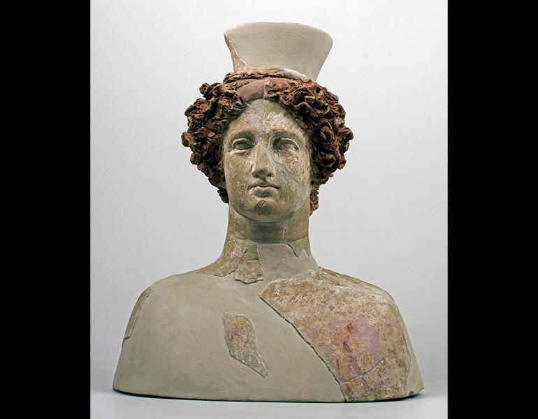 Bust of a Goddess, 325–275 BC. Sikeliote (Sicilian Greek). Terracotta and pigment; 48.7 x 41.1 x 22.2 cm. Courtesy of the Museo Archeologico Regionale Paolo Orsi, Syracuse. By permission of the Regione Siciliana, Assessorato dei Beni Culturali e dell'Identità Siciliana. Dipartimento dei Beni Culturali e dell'Identità Siciliana. Unauthorized reproduction prohibited.