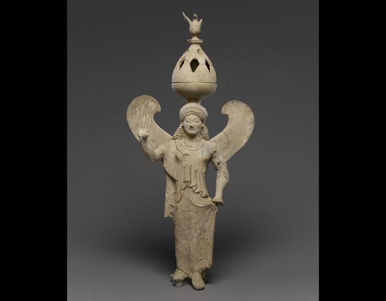 Thymiaterion (Incense Burner) Supported by a Statuette of Nike, 500–480 BC. Sikeliote (Sicilian Greek). Terracotta and pigment; h. 44.6. The J. Paul Getty Museum, Villa Collection, Malibu, CA 86.AD.681.