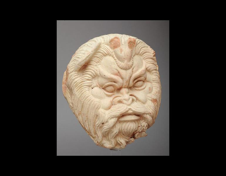 Antefix (Roof Ornament) with a Head of Acheloös, c. 480 BC. Sikeliote (Sicilian Greek). Terracotta; 21.4 x 18.2 cm. Courtesy of the Museo Archeologico Regionale Pietro Griffo, Agrigento. By permission of the Regione Siciliana, Assessorato dei Beni Culturali e dell'Identità Siciliana. Dipartimento dei Beni Culturali e dell'Identità Siciliana. Photo: Angelo Pitrone. Unauthorized reproduction prohibited.