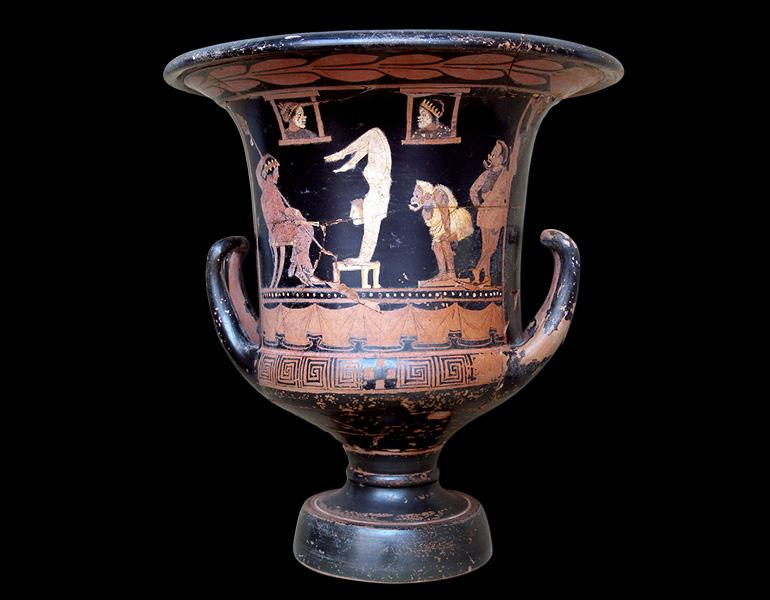 Sicilian Red-Figured Calyx Krater (Mixing Vessel) with Dionysos and Performers, 375–360 BC. Sikeliote (Sicilian Greek). Terracotta; 40.3 x 36.8 cm. Courtesy of the Museo Archeologico Regionale Eoliano Luigi Bernabò Brea, Lipari. By permission of the Regione Siciliana, Assessorato dei Beni Culturali e dell'Identità Siciliana. Dipartimento dei Beni Culturali e dell'Identità Siciliana. Unauthorized reproduction prohibited.