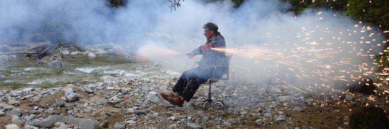 Bürostuhl (office chair) (detail), 2006. Roman Signer (Swiss, b. 1938). Series of 4 color photographs; 45 x 60 cm (each). Photo: Tomasz Rogowiec. © Roman Signer