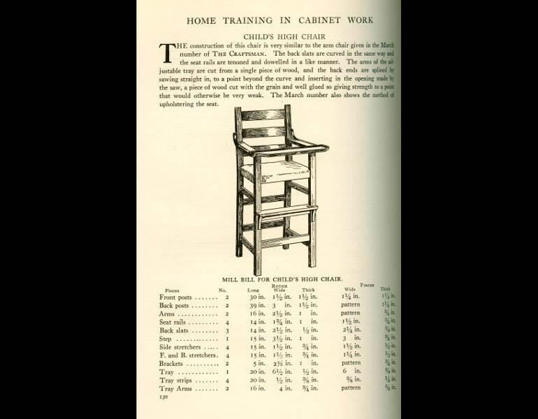 Child's high chair, description and mill bill. From The Craftsman 9 (1), October 1905, pp. 130. IML 977746