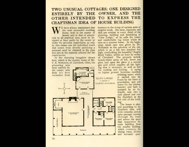 Two unusual cottages; One designed entirely by the [Cleveland] owner... From The Craftsman 14 (1), April 1908, pp. 82. IML 977733