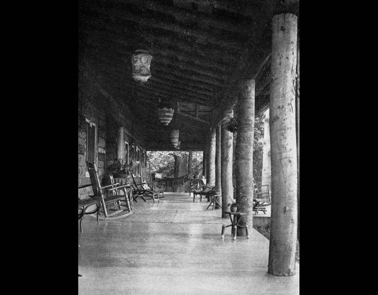 The wide entrance veranda at Glen Lodge, designed by F.E. Wettstein of Cleveland, Ohio. From The Craftsman 14 (1), April 1908, pp. 83. IML 977734