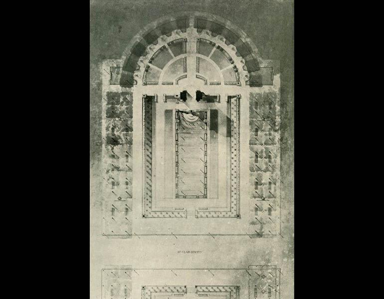 Detailed plan of fountain at south end of mall... From The Craftsman 9 (1), October 1905, pp. 44. IML 977744