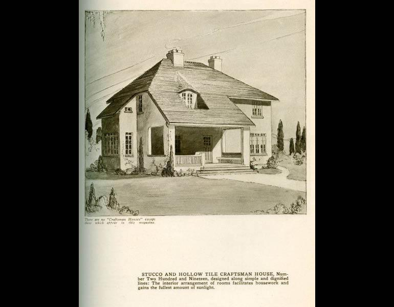 Stucco and hollow tile Craftsman House, with a caveat: There are no 'Craftsman Houses' except those which appear in this magazine. From The Craftsman 31 (2), November 1916, pp. 181. IML 977743