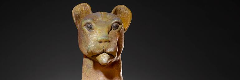 Canopic Jar—Mountain Lion, about 1995. William Morris (American, born 1957). Blown and cast glass; 25 x 9½ x 9½ in. Private collection, Cleveland. Image Courtesy of the Cleveland Museum of Art