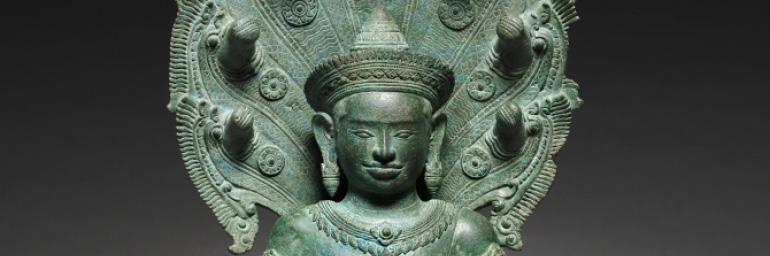Naga-enthroned Buddha (detail), 1100s. Cambodia, Angkor. Bronze; 58.4 x 28 cm. John L. Severance Fund 1963.263.a–c