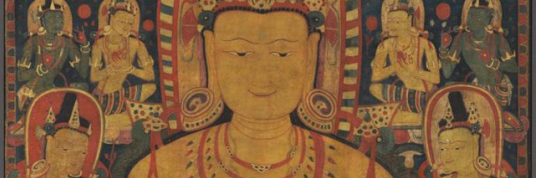 Tantric Buddha (detail), c. 1150–1200. Central Tibet. Opaque watercolor, ink, and gold on cotton; 111 x 73 cm. Mr. and Mrs. William H. Marlatt Fund 1989.104