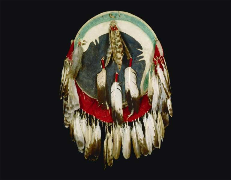 Shield Cover and Shield, about 1860. Apsáalooke (Crow), Montana. Thaw Collection, Fenimore Art Museum, Cooperstown, N.Y., T0048. Photograph by John Bigelow Taylor.