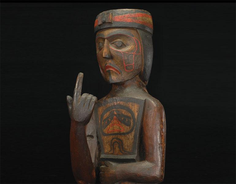 Potlatch Figure Holding a Copper, about 1880–95. Kwakwaka'wakw (Kwakiutl), northwest Vancouver Island, British Columbia. Thaw Collection, Fenimore Art Museum, Cooperstown, N.Y., T0162. Photograph by John Bigelow Taylor. about 1880–95. Kwakwaka'wakw (Kwakiutl), northwest Vancouver Island, British Columbia. Thaw Collection, Fenimore Art Museum, Cooperstown, N.Y., T0162. Photograph by John Bigelow Taylor.