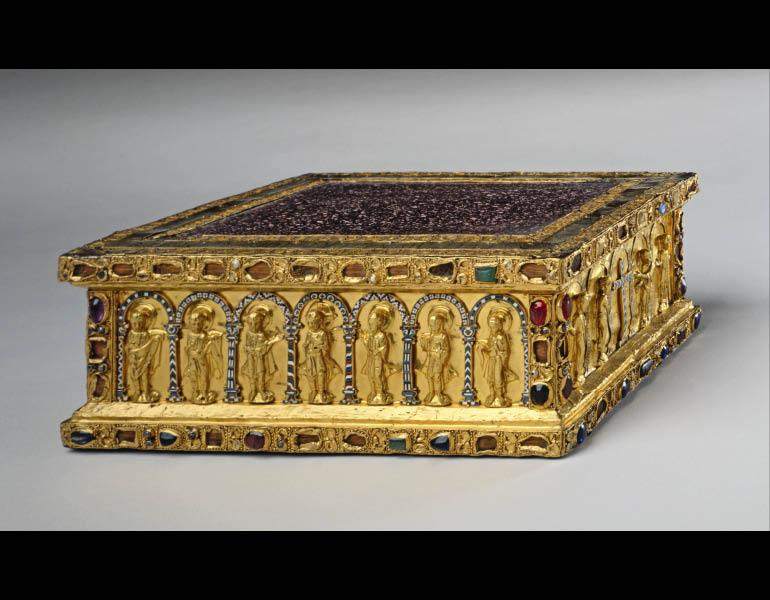 Portable Altar of Countess Gertrude, c.1045. Ottonian (German, Lower Saxon, Hildesheim). Gold, cloisonné enamel, gems, red porphyry, and pearls on an oak wood core; 10.5 x 27.5 x 21 cm. The Cleveland Museum of Art, Gift of the John Huntington Art and Polytechnic Trust 1931.462