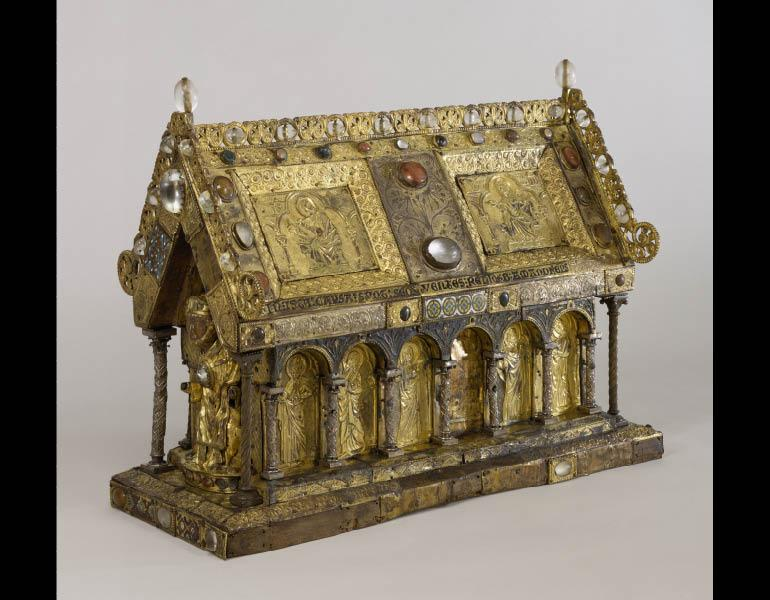 Reliquary Shrine of St. Amandus, 1250-1275. Gothic (Flemish, Western Belgium). Gilded copper, silver, champlevé enamel, and semi-precious stones; 48.4 x 63.9 x 30 cm. Walters Art Museum 53.9 © The Walters Art Museum, Baltimore