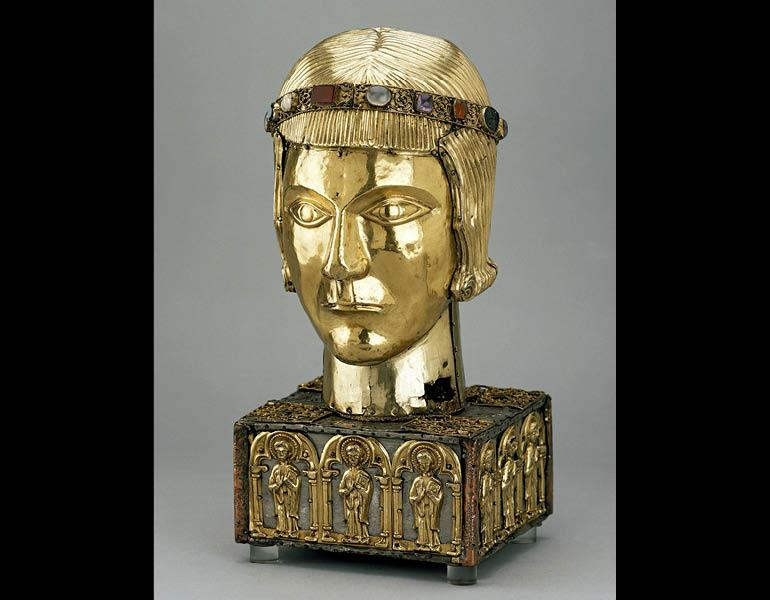 Head Reliquary of St. Eustace, c. 1200. Romanesque (Swiss, Upper Rheinish, Basel). Silver and silver gilt on a wooden core; 33.5 x 17 x 15.6 cm. British Museum MLA 50,11-27,1 © The Trustees of the British Museum