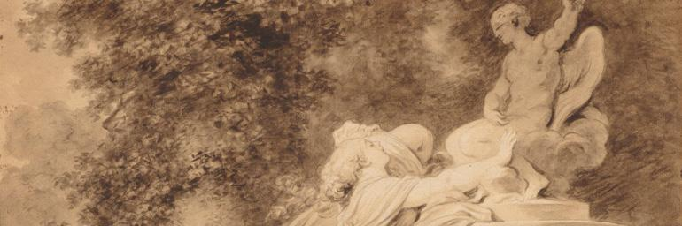Invocation to Love (detail), c. 1781. Jean-Honoré Fragonard (French, 1732–1806). Brush and brown wash over graphite, over squaring in graphite; 33.5 x 41.6 cm. The Cleveland Museum of Art, Grace Rainey Rogers Fund 1943.657