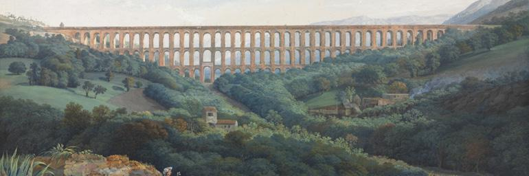 The Aqueducs de Caserta (detail), 1789. Carl Ludwig Hackert (German, 1751–1789). Gouache with graphite underdrawing; 42.3 x 64.1 cm. The Cleveland Museum of Art, Norman O. Stone and Ella A. Stone Memorial Fund, acquired in honor of Alfred M. Rankin Jr. in