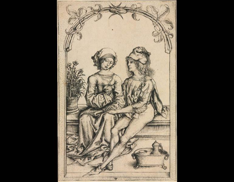 The Lovers (after the Master of the Housebook or Master of Amsterdam Cabinet), c. 1490. Wenzel von Olmütz (Bohemian). Engraving; 16.9 x 11.30 cm. The Cleveland Museum of Art, Purchase from the J. H. Wade Fund 2010.262