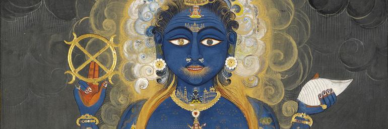 Vishnu Vishvarupa (detail), c. 1800–1820. India, Rajasthan, Jaipur. Opaque watercolor and gold on paper; 38.5 x 28 cm. Victoria and Albert Museum, London, Given by Mrs. Gerald Clark IS.33-2006.