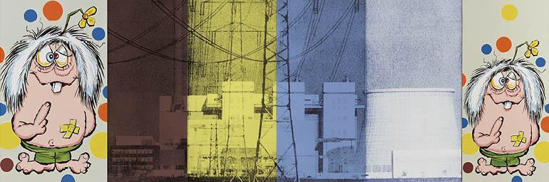 Landscape No. 15 (Mutant Ninja Chernobyl) (detail), 1991. Julia Wachtel (American, born 1956). Oil, flashe and screen ink on canvas; 152 x 335 cm. ©Julia Wachtel. Photo: Alan Wiener. Private collection.