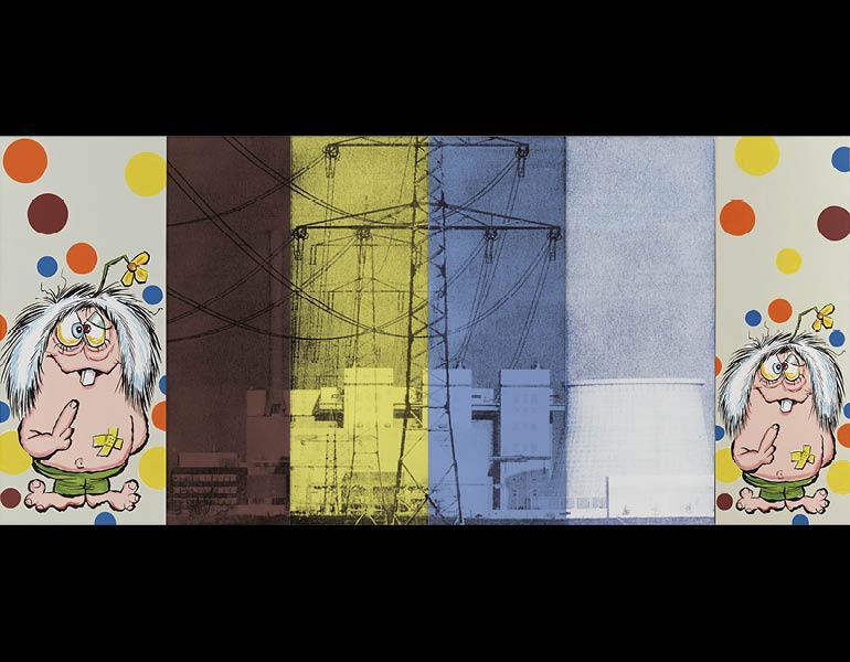 Landscape No. 15 (Mutant Ninja Chernobyl), 1991. Julia Wachtel (American, born 1956). Oil, flashe and screen ink on canvas; 152 x 335 cm. ©Julia Wachtel. Photo: Alan Wiener. Private collection.