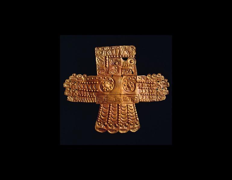 Winged Creature Plaque, 600–1000. Peru, Wari. Gold; 13 x 15.8 cm. Ethnologisches Museum, Berlin, VA 28787. Image © bpk, Berlin / Ethnologisches Museum / Waltraut Schneider-Schuetz / Art Resource, NY