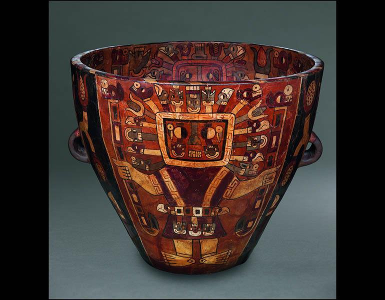 Urn with Staff Deities, 600–1000. Peru, Wari. Ceramic and slip; 83.5 x 86 cm. Museo Nacional de Arqueología, Antropología e Historia del Perú, Lima, S/C. Photo: Daniel Antonio Giannoni Succar